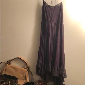 FREE PEOPLE Lace Gauze Swing High Low Slip Dress